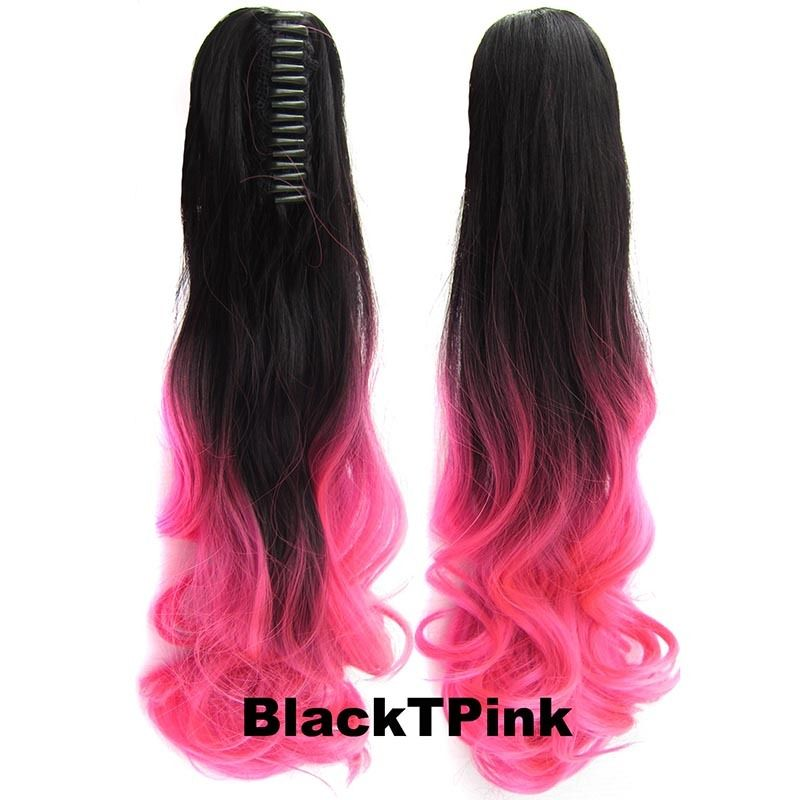 22 Inch Dip Dye Ombre Claw Synthetic Ponytail Body Wavy 20