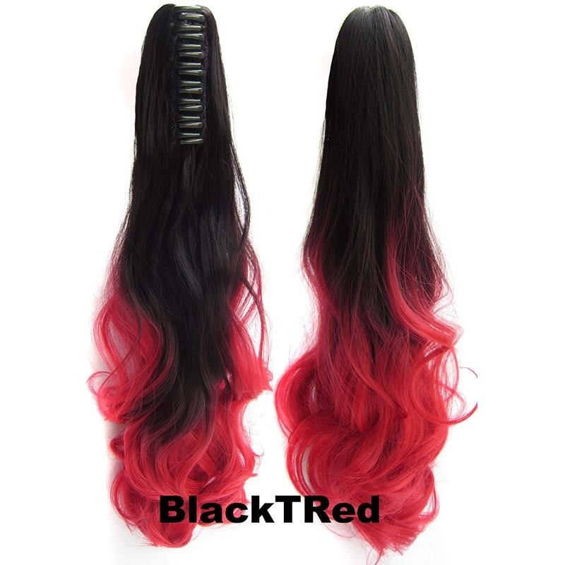 22 Inch Dip Dye Ombre Claw Synthetic Ponytail Body Wavy 21