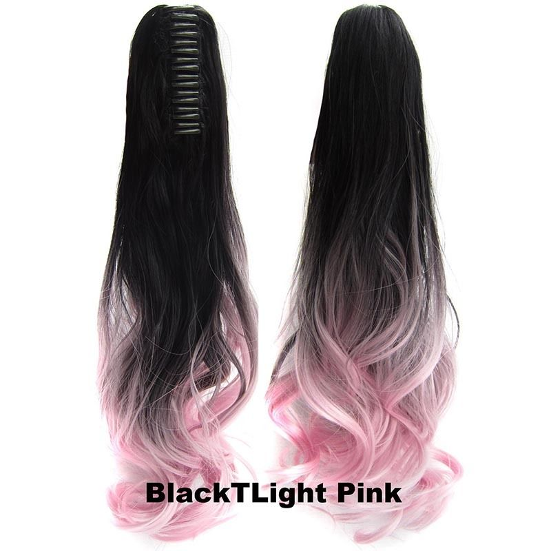 22 Inch Dip Dye Ombre Claw Synthetic Ponytail Body Wavy 3