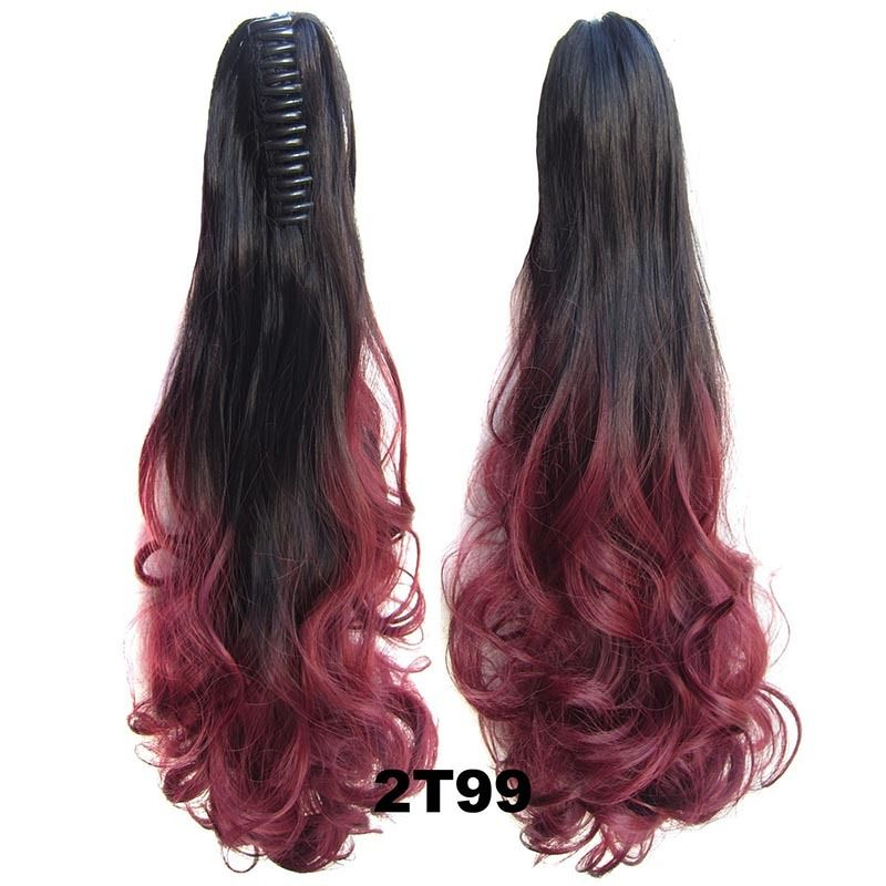 22 Inch Dip Dye Ombre Claw Synthetic Ponytail Body Wavy 4