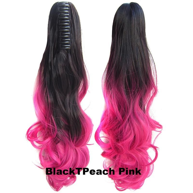 22 Inch Dip Dye Ombre Claw Synthetic Ponytail Body Wavy 5