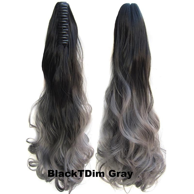 22 Inch Dip Dye Ombre Claw Synthetic Ponytail Body Wavy 6