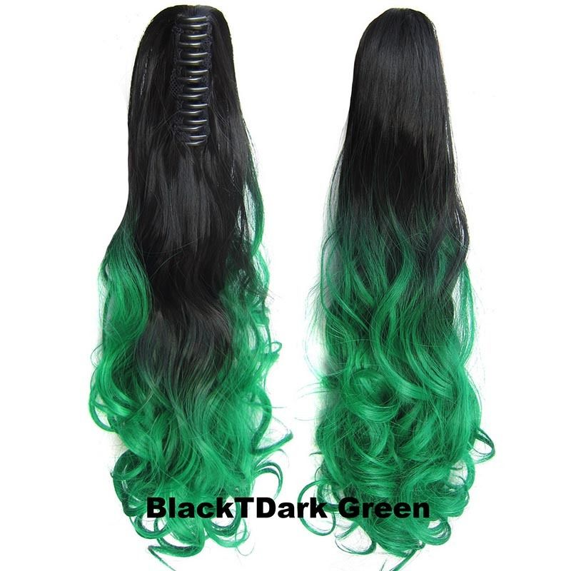22 Inch Dip Dye Ombre Claw Synthetic Ponytail Body Wavy 7