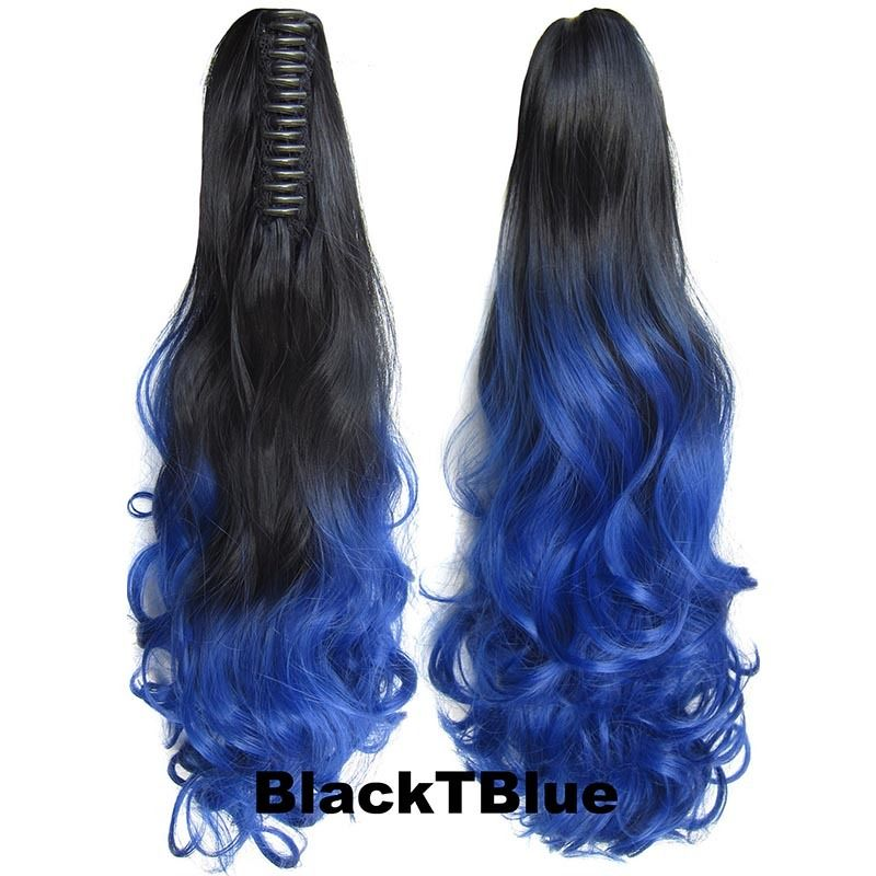 22 Inch Dip Dye Ombre Claw Synthetic Ponytail Body Wavy 8
