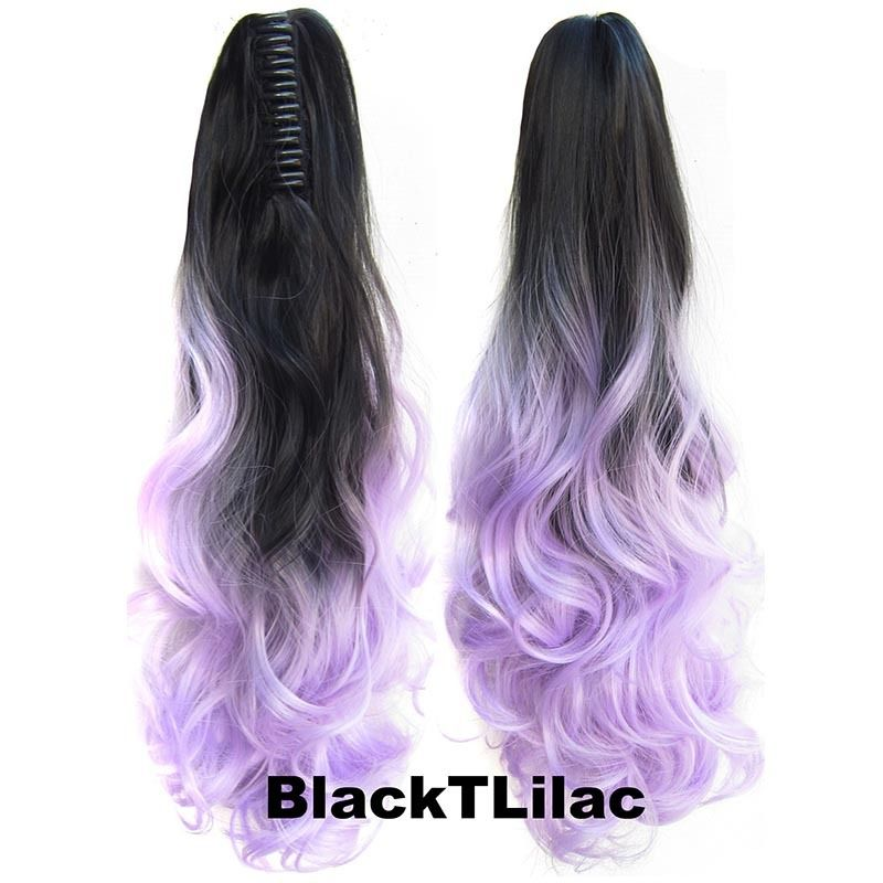 22 Inch Dip Dye Ombre Claw Synthetic Ponytail Body Wavy 9