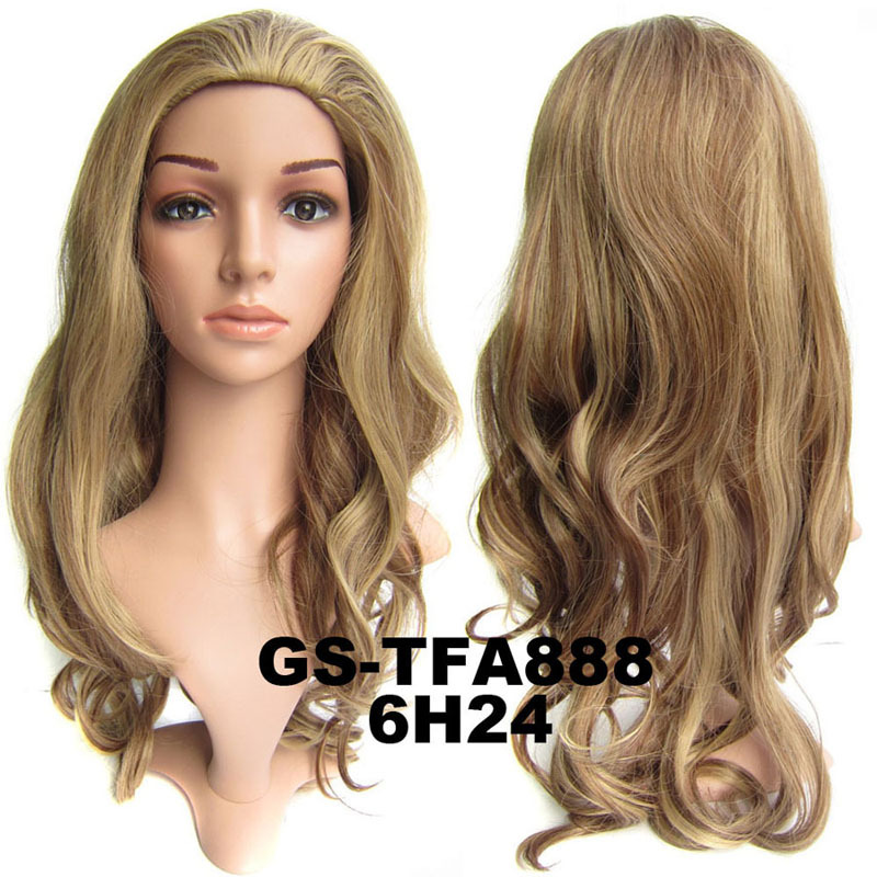 22 Inch Exquisite Curly and Long 3/4 Half Head Synthetic Hair Wigs With Comb  6H24