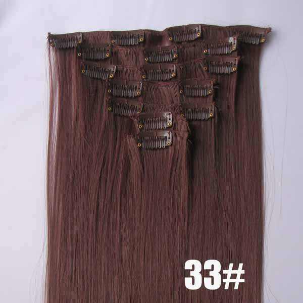 22 Inch Exquisite Straight and Long Full Head Clip in Synthetic Hair Extensions  33# 7 Pieces