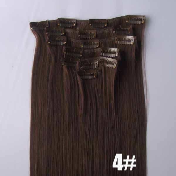 22 Inch Fashionable Straight and Long Full Head Clip in Synthetic Hair Extensions 4#7 Pieces