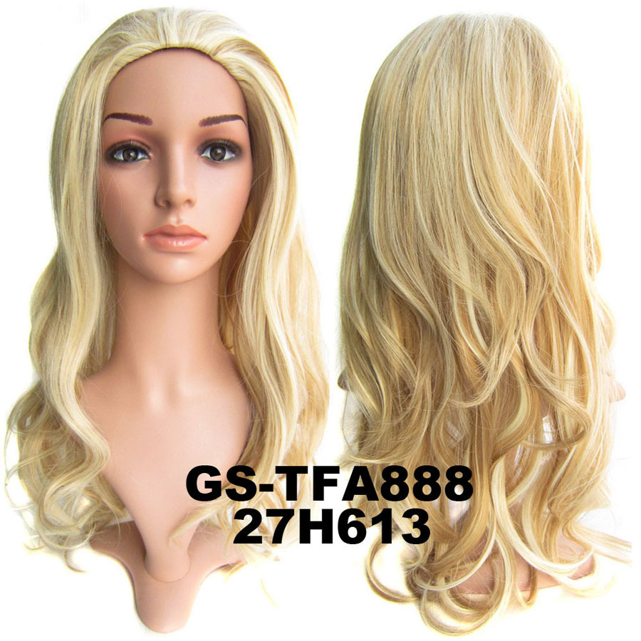 22 Inch Fine Curly and Long 3/4 Half Head Synthetic Hair Wigs With Comb H27/613