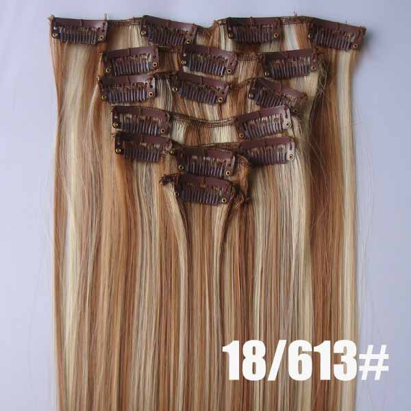 22 Inch Graceful Straight and Long Full Head Clip in Synthetic Hair Extensions P18/613 7 Pieces