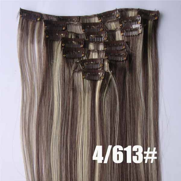 22 Inch Grand Straight and Long Full Head Clip in Synthetic Hair Extensions P4/30 7 Pieces
