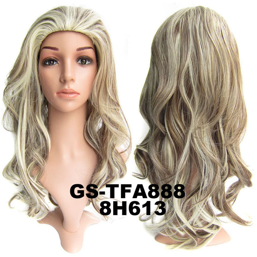22 Inch Hot-sale  Curly and Long 3/4 Half Head Synthetic Hair Wigs With Comb   F8/613