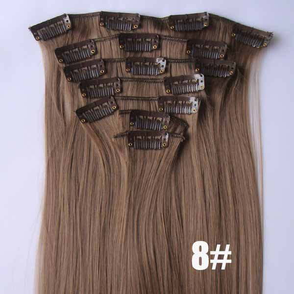 22 Inch Hot-sale Straight and Long Full Head Clip in Synthetic Hair Extensions 8#7 Pieces