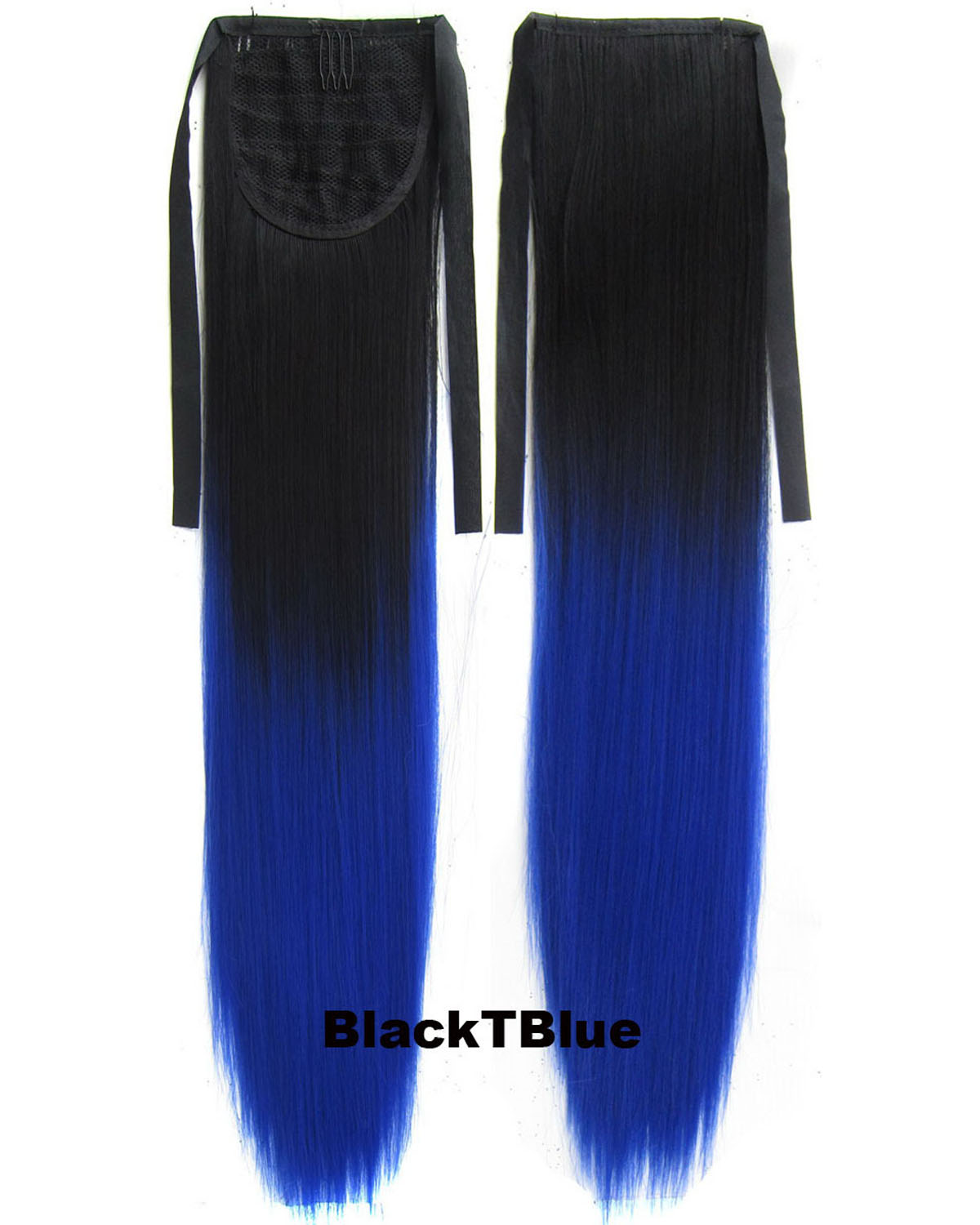 22 Inch Lady Attractive Straight Lace/Ribbon Synthetic Hair Ponytail BlackTBlue Ombre