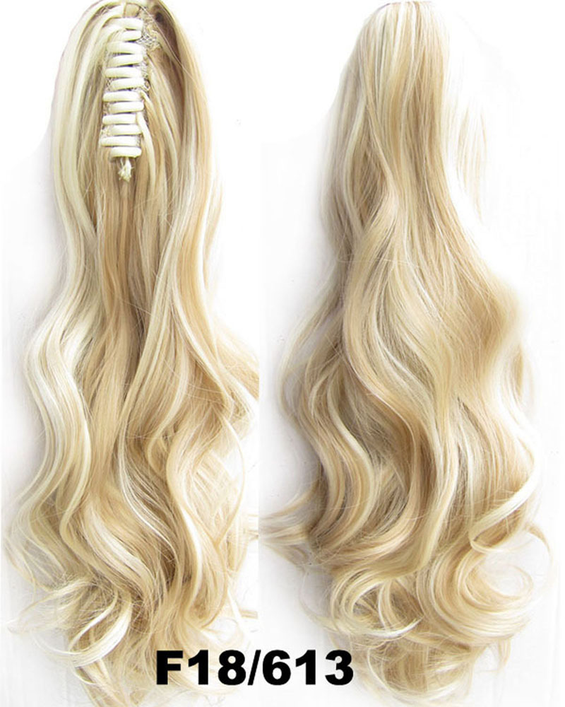 22 Inch Lady Body Fabulous Wave Curly and Long Claw Chip Synthetic Hair Ponytail F18/613