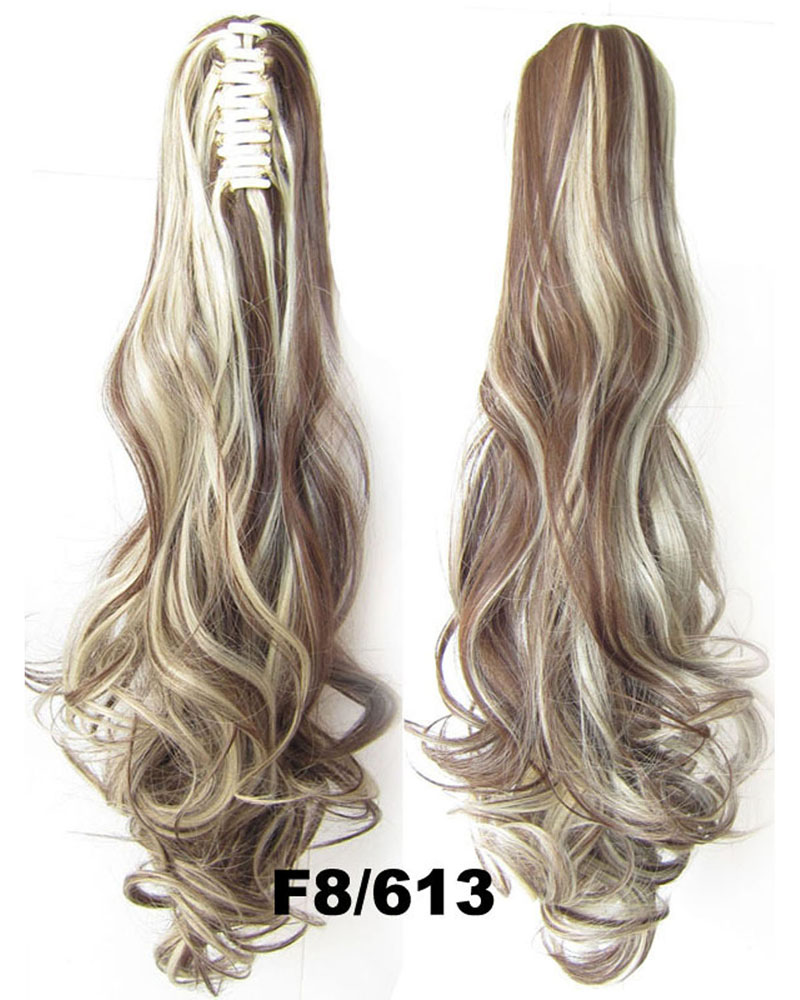 22 Inch Lady Body Wave Clean Curly and Long Claw Chip Synthetic Hair Ponytail F8/613