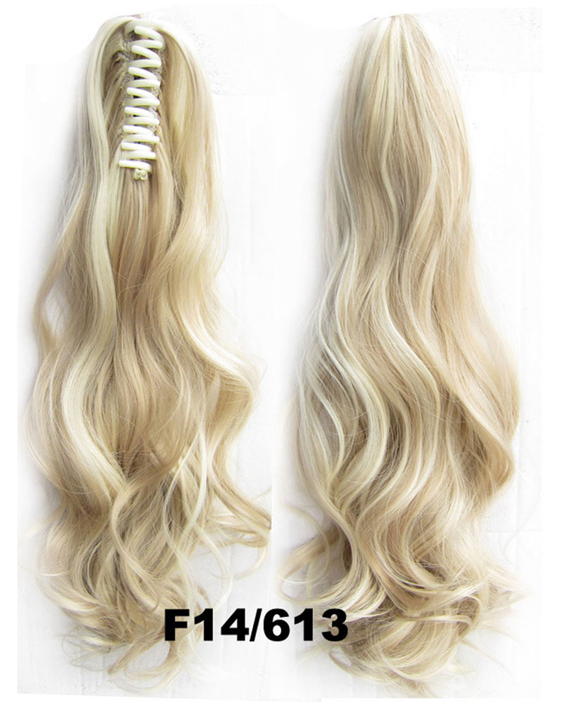 22 Inch Lady Body Wave Curly and Long Claw Chip Synthetic Hair Ponytail F14/613 Great Quality