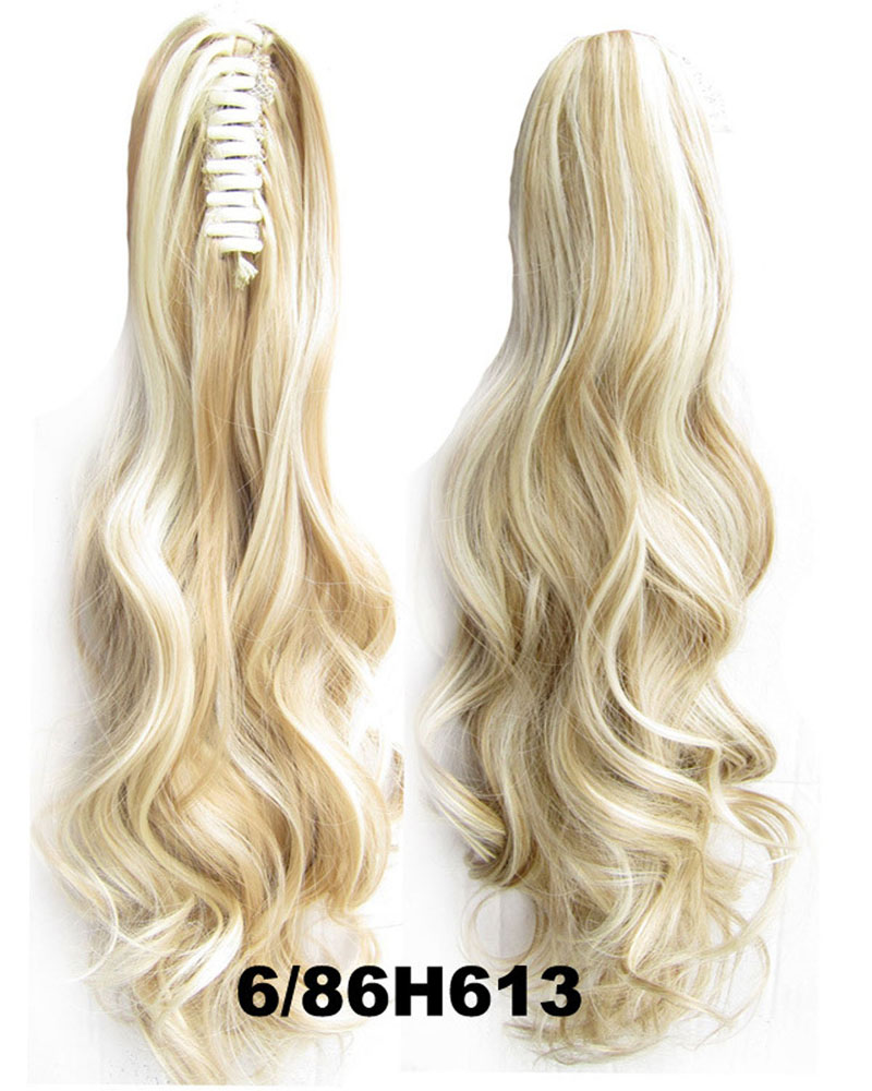 22 Inch Lady Body Wave Elegant Curly and Long Claw Chip Synthetic Hair Ponytail  6/86H613
