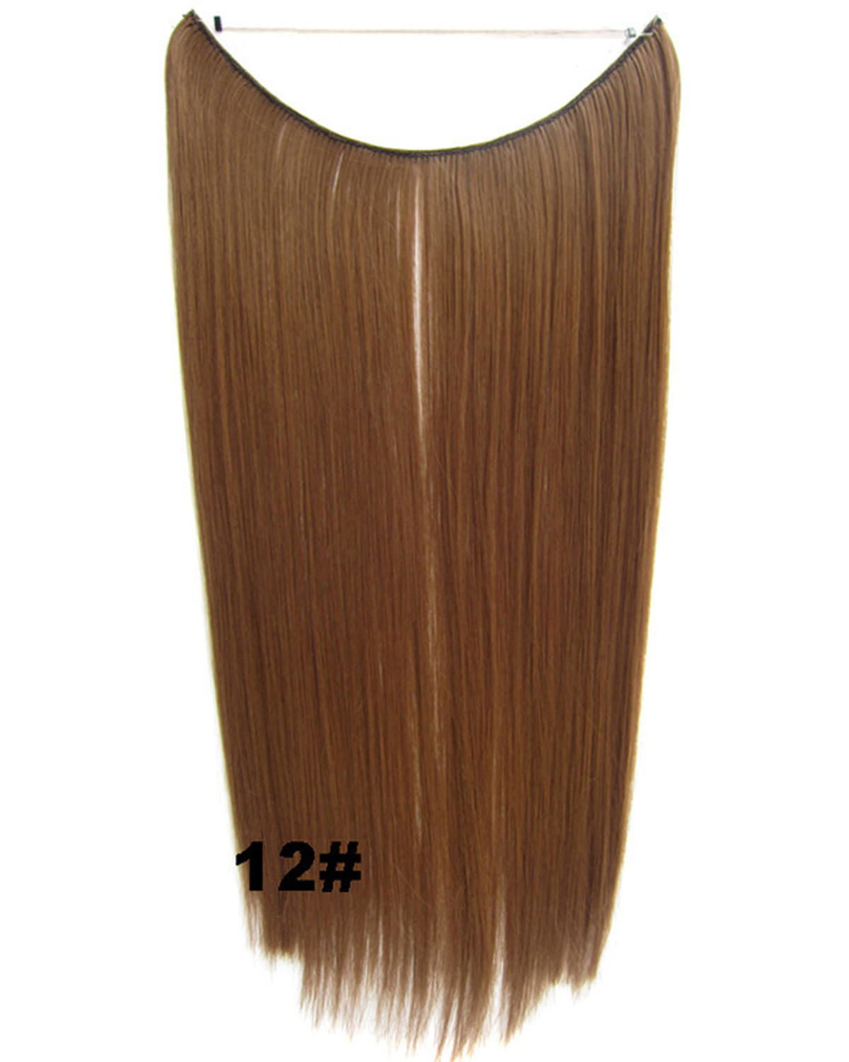 22 Inch Lady Clean and Neat Straight long One Piece Miracle Wire Flip in Synthetic Hair Extension 12#