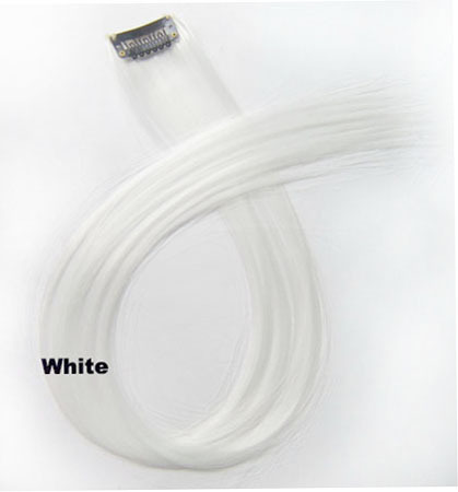 22 Inch Lady Colorful Straight Long One Piece One Clip Clip in Synthetic Hair Extension White