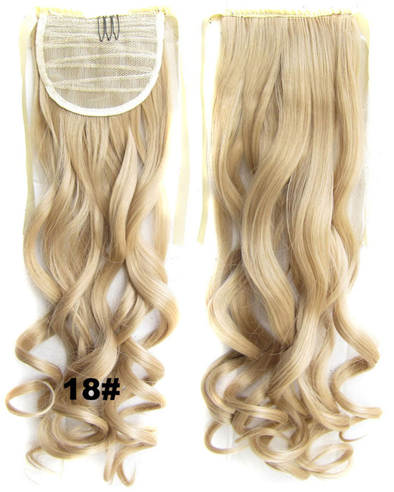 22 Inch Lady Curly and Long Lace/Ribbon Synthetic Hair Ponytail18#Smooth and Clean