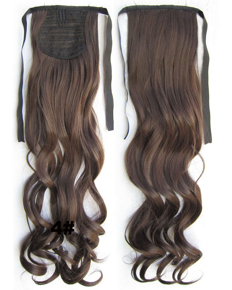 22 Inch Lady Elegant   Curly and Long Lace/Ribbon Synthetic Hair Ponytail 4# 80g