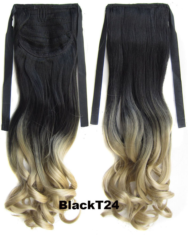 22 Inch Lady Elegant Straight  Lace/Ribbon Synthetic Hair Ponytail  BlackT24 Ombre Clean and Comfortable