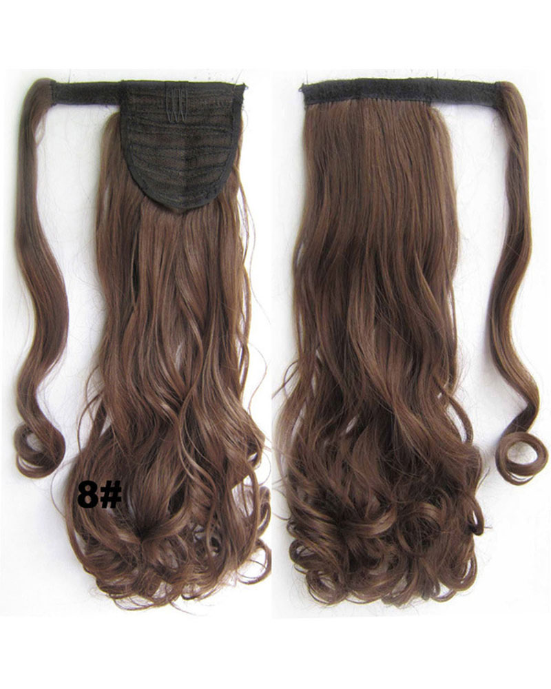 22 Inch Lady Excellent Curly and Long Wrap Around Synthetic Hair Ponytail 8#