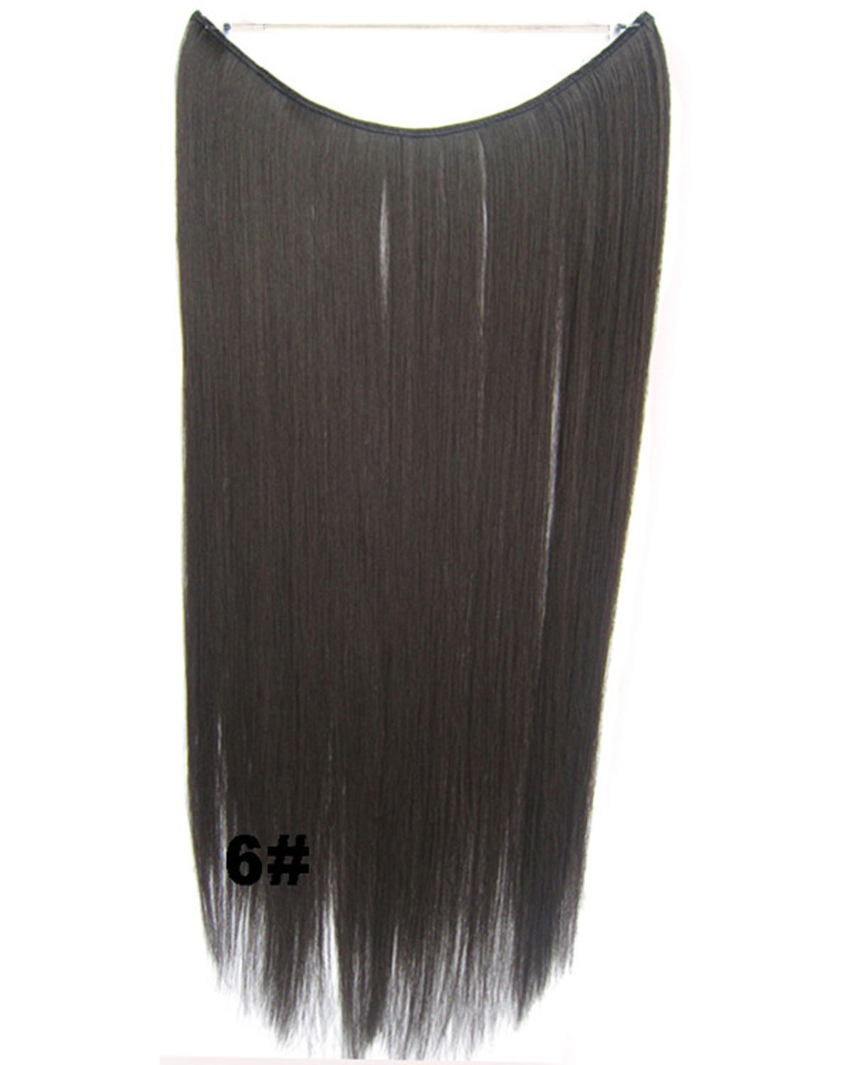 22 Inch Lady Fantastic Straight long One Piece Miracle Wire Flip in Synthetic Hair Extension 6#