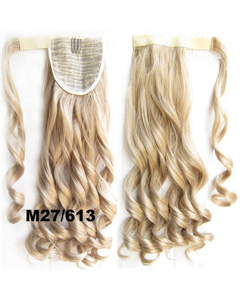 22 Inch Lady Glamourous  Curly and Long Wrap Around Synthetic Hair Ponytail M27/613
