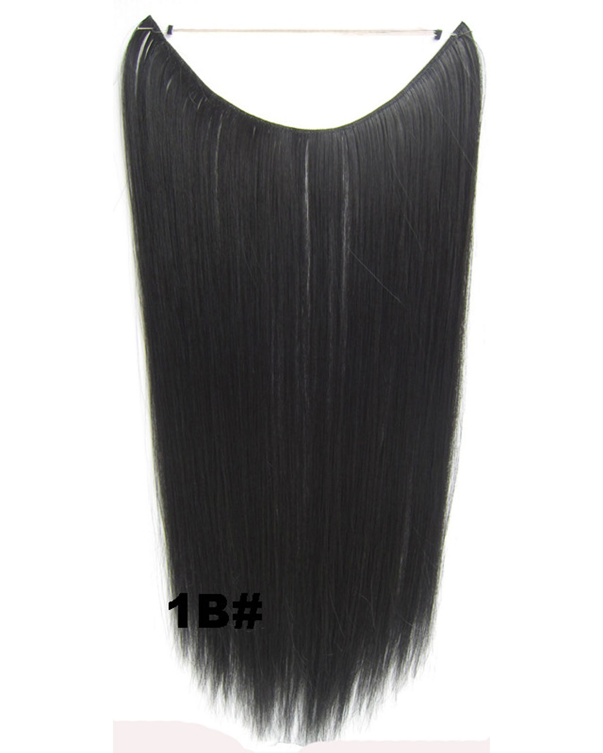 22 Inch Lady Glowing Straight long One Piece Miracle Wire Flip in Synthetic Hair Extension1B#