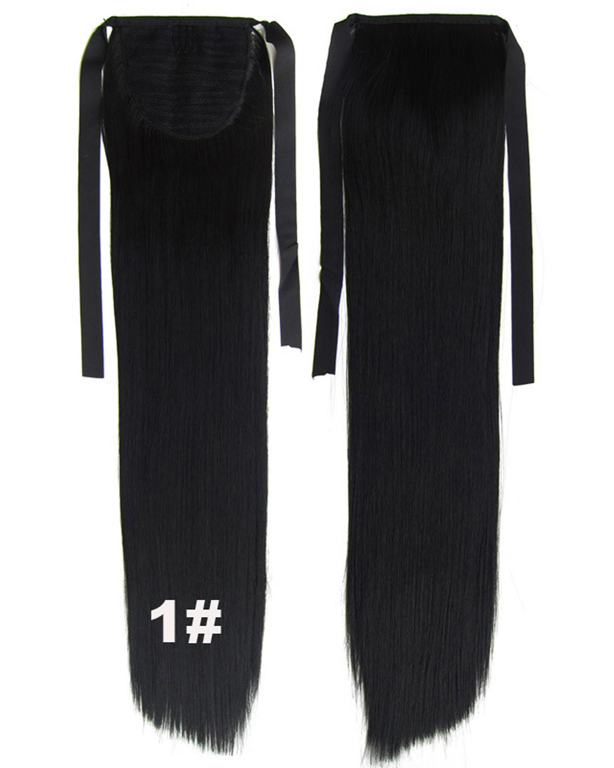 22 Inch Lady High-level Straight and Long Lace/Ribbon Synthetic Hair Ponytail 1#