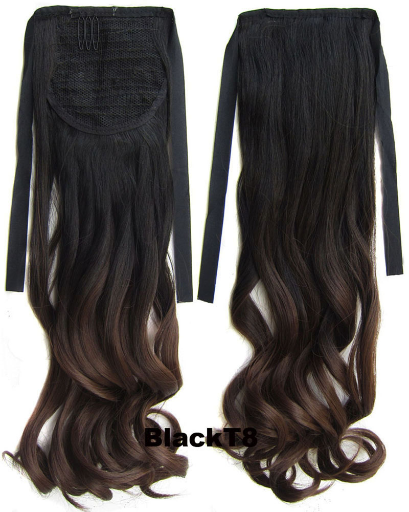 22 Inch Lady High-quality Curly Lace/Ribbon Synthetic Hair Ponytail  BlackT8 Ombre Clean and Comfortable