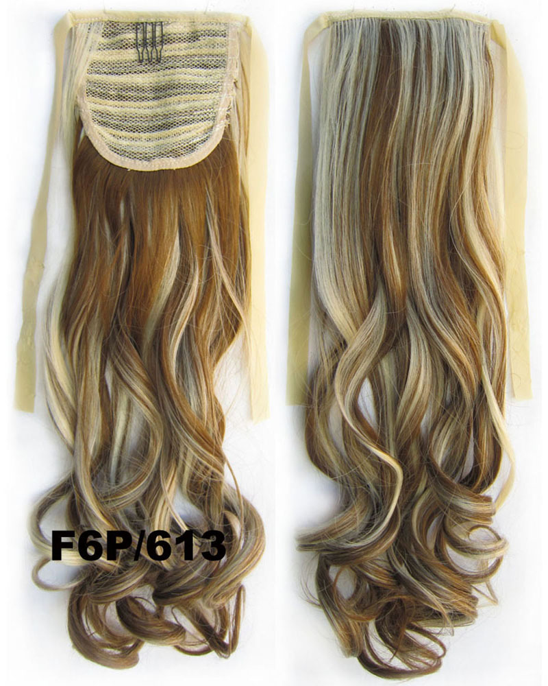 22 Inch Lady Hot-sale Curly and Long Lace/Ribbon Synthetic Hair Ponytail F6P/613