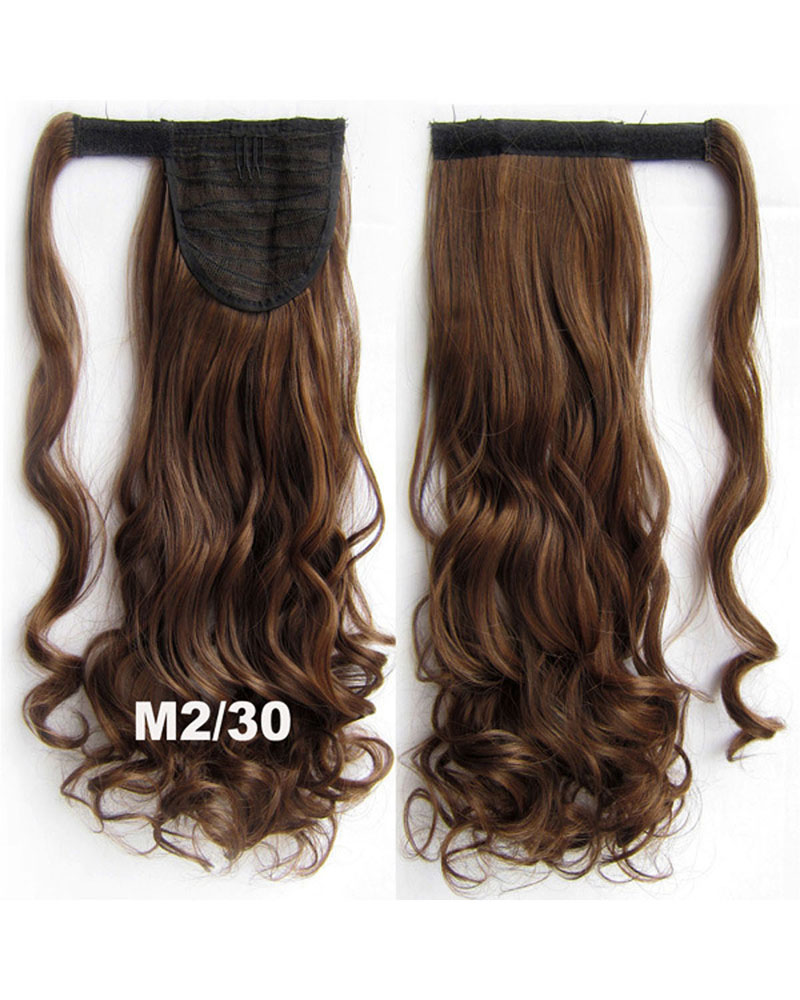 22 Inch Lady Lively Curly and Long Wrap Around Synthetic Hair Ponytail 1B#