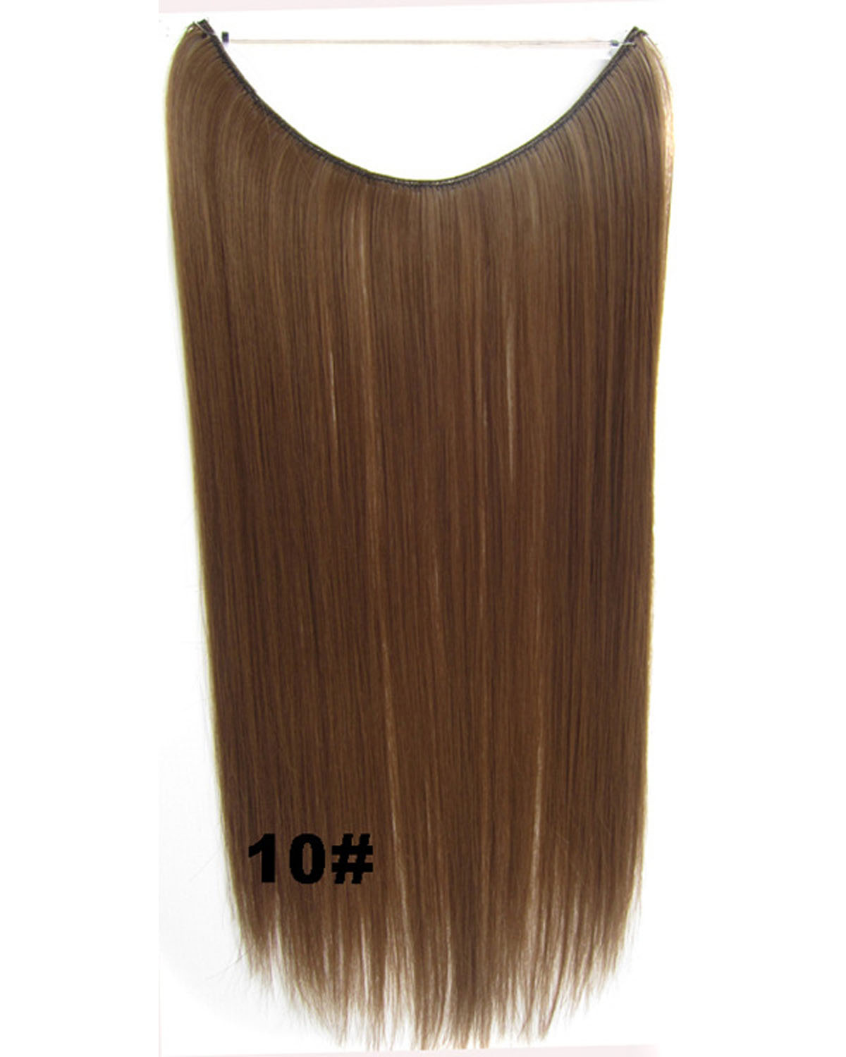 22 Inch Lady Lustrous Straight long One Piece Miracle Wire Flip in Synthetic Hair Extension 10#