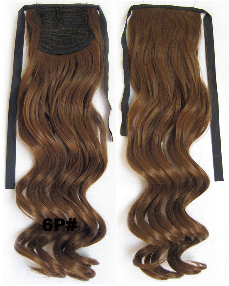 22 Inch Lady Newly Curly and Long Lace/Ribbon Synthetic Hair Ponytail 6P#  Bright and Smooth