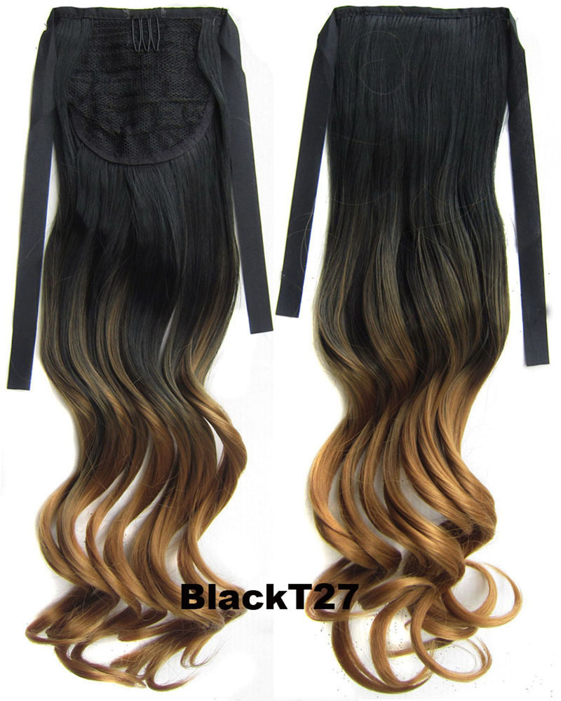 22 Inch Lady Newly Curly and Long Lace/Ribbon Synthetic Hair Ponytail  BlackT27 Great Quality