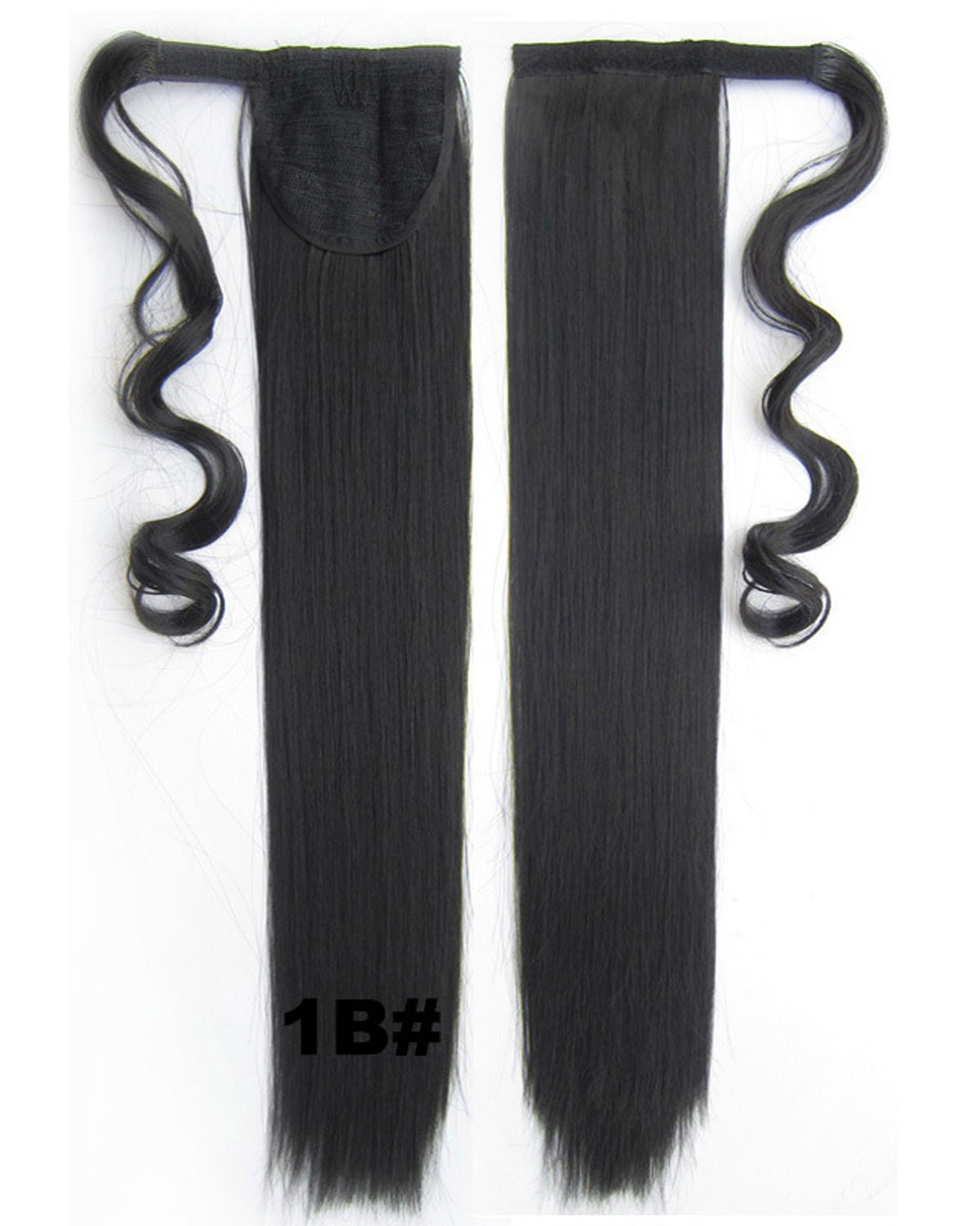 22 Inch Lady Perfect Curly and Long Wrap Around Synthetic Hair Ponytail 1B# 90g 55cm