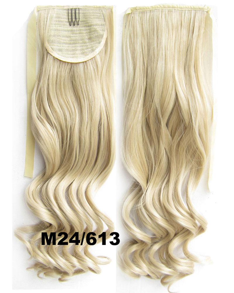 22 Inch Lady Popular Curly Lace/Ribbon Synthetic Hair Ponytail  M24/613 Clean and Smooth