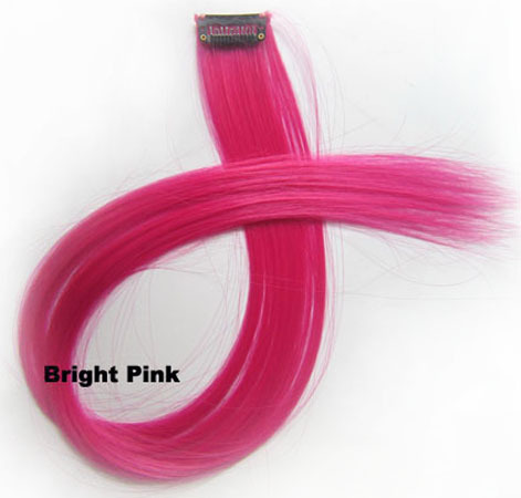 22 Inch Lady Salable Straight Long One Piece Single Clip Clip in Synthetic Hair Extension  Bright Pink