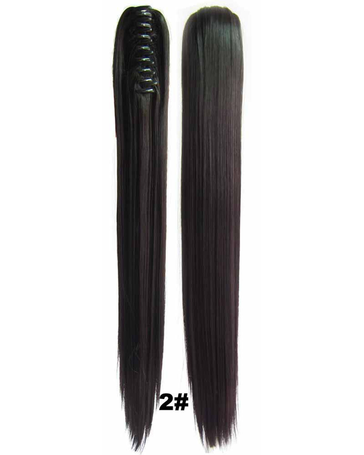 22 Inch Lady  Straight and Long Claw Chip Synthetic Hair Ponytail2# Clean and Smooth