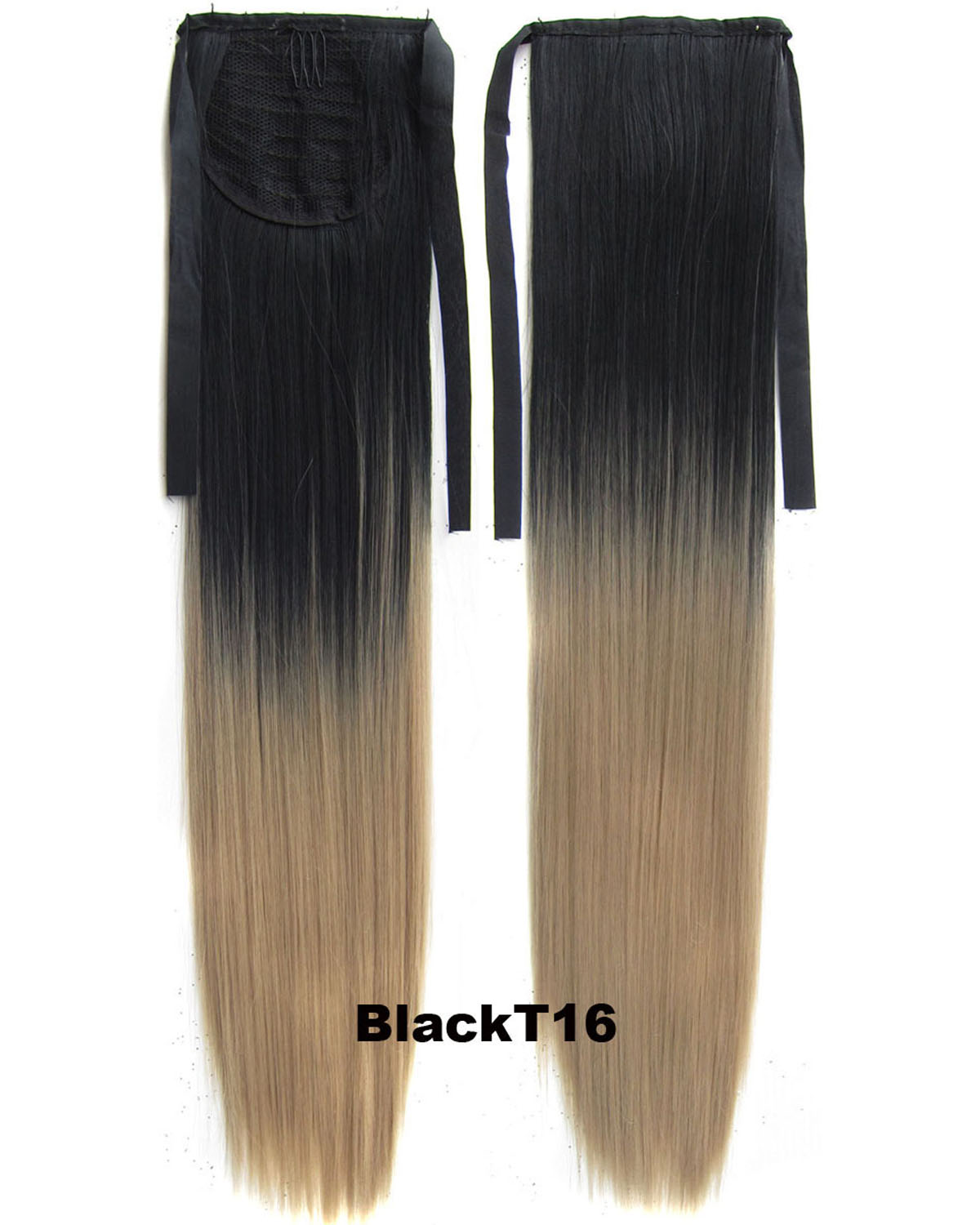 22 Inch Lady Straight and Long Lace/Ribbon Synthetic Hair Ponytail  BlackT16 Ombre High-quality