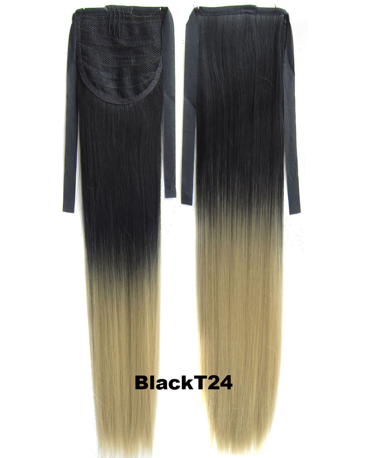 22 Inch Lady Straight Charming Lace/Ribbon Synthetic Hair Ponytail  BlackT24 Ombre