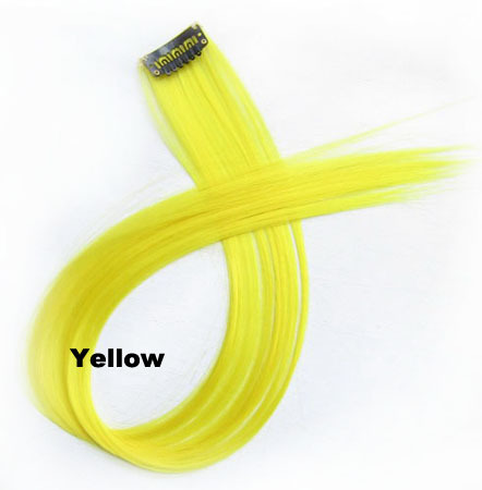 22 Inch Lady Straight Hot-sale One Piece Single Clip Clip in Synthetic Hair Extension yellow