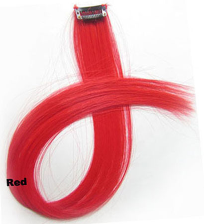 22 Inch Lady Straight Long and Clean One Piece Single Clip Clip in Synthetic Hair Extension  Red
