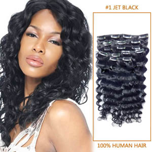 22 Inch New #1 Jet Black Clip In Remy Hair Extensions Curly 7 Pcs Pack