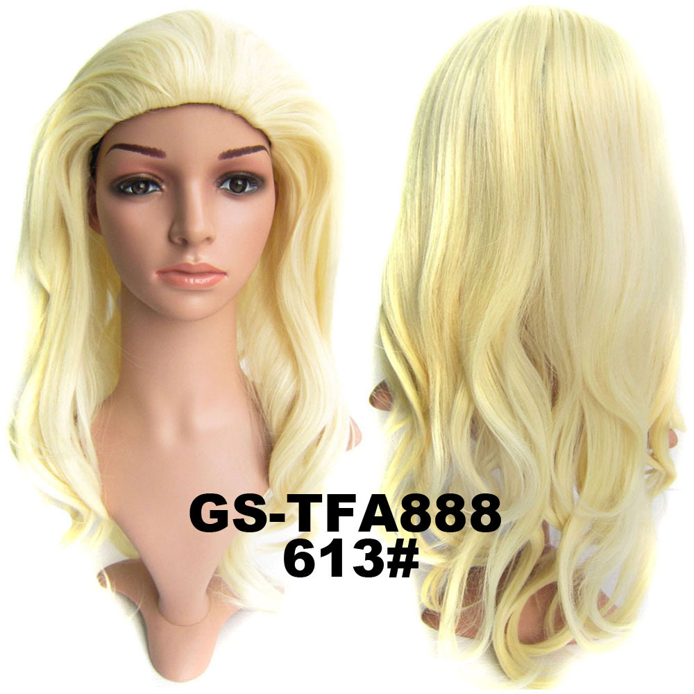 22 Inch Newly Curly and Long 3/4 Half Head Synthetic Hair Wigs With Comb 613#
