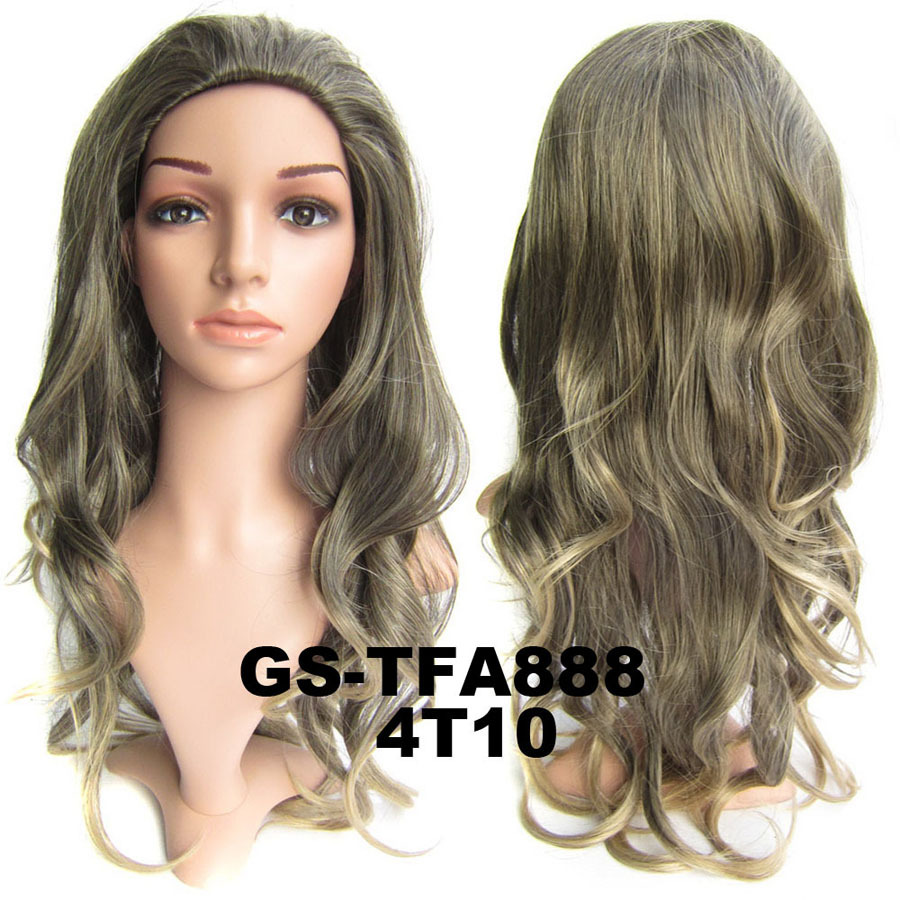 22 Inch Salable Curly and Long 3/4 Half Head Synthetic Hair Wigs With Comb  4T10