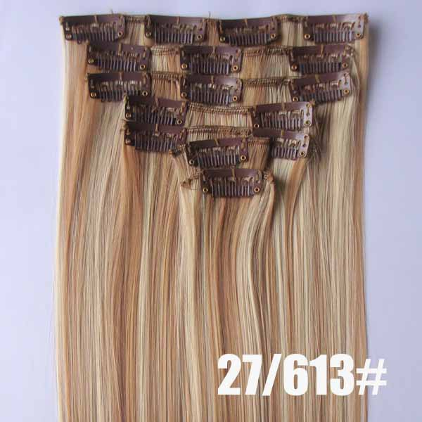22 Inch Salable Straight and Long Full Head Clip in Synthetic Hair Extensions  P27/613 7 Pieces